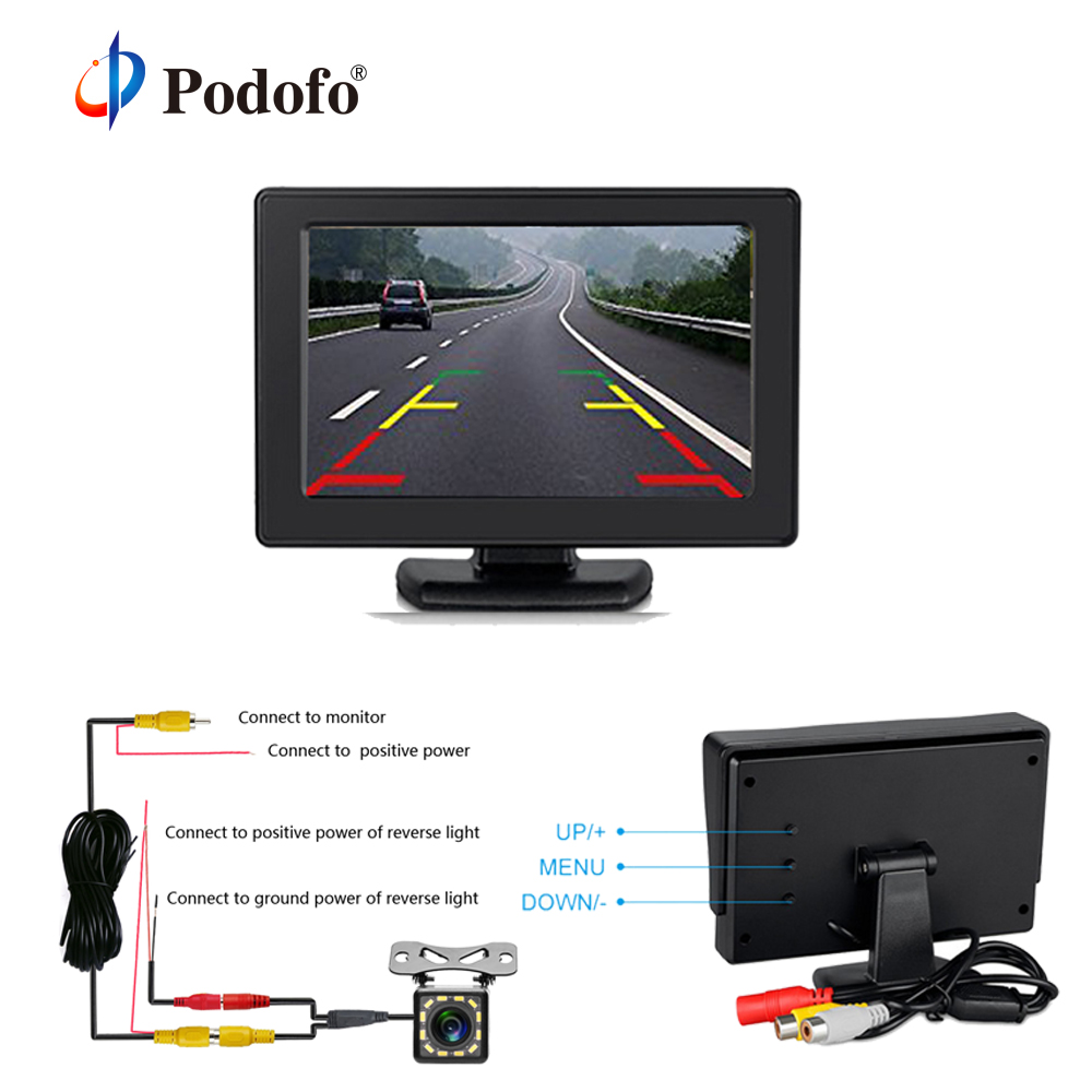 Podofo 2 In1 Car Rear View Camera Parking System Kit 4.3 TFT LCD Color Rearview Display Monitor with Backup Reversing Cameras