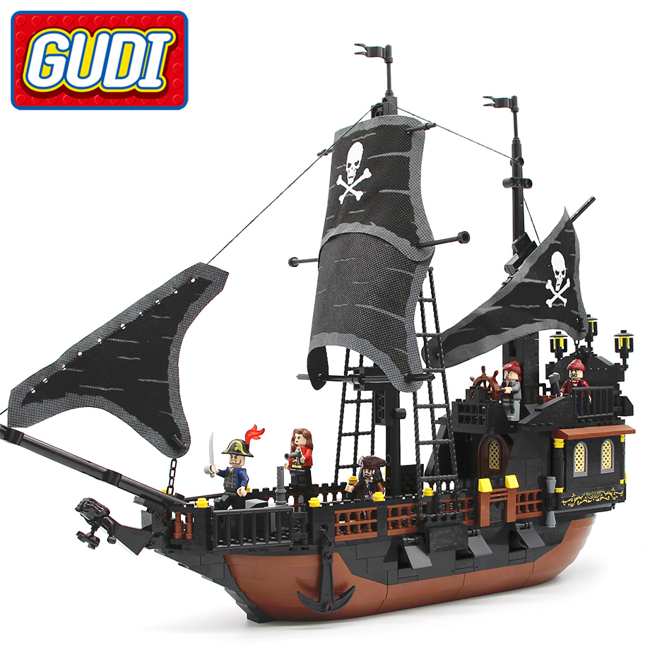 GUDI Compatible with Jack Captain's Boat Black Pearl Building Blocks 652pcs Bricks Pirates of Caribbean Toys For Children