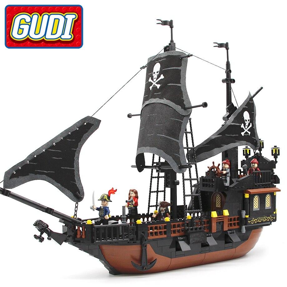 GUDI Jack Kapitän der Boot Schwarz Perle Gebäude Block 652 stücke Ziegel Piraten der Karibik Spielzeug Für Kinder Kompatibel Legoingly