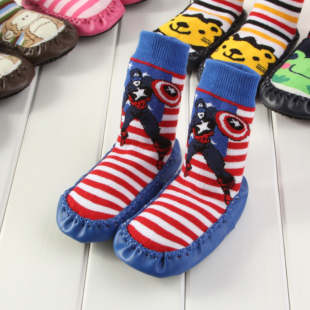 2017 Captain America HOT Newborn Toddler Indoor Floor Shoes Anti Slip Baby Socks Cotton Baby Socks With Rubber Soles DS9
