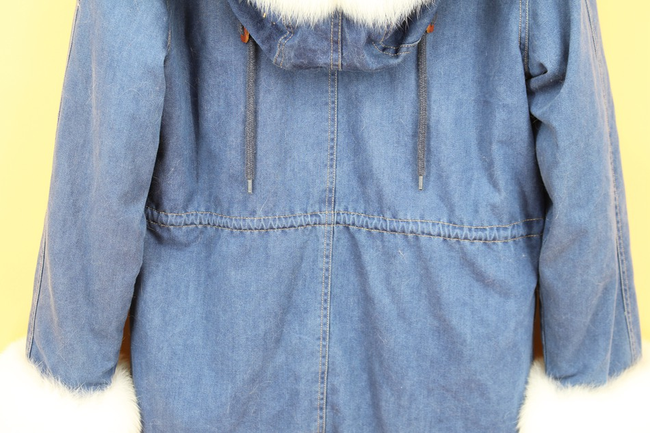 women demin fur parka natural fox fur hoody  (12)
