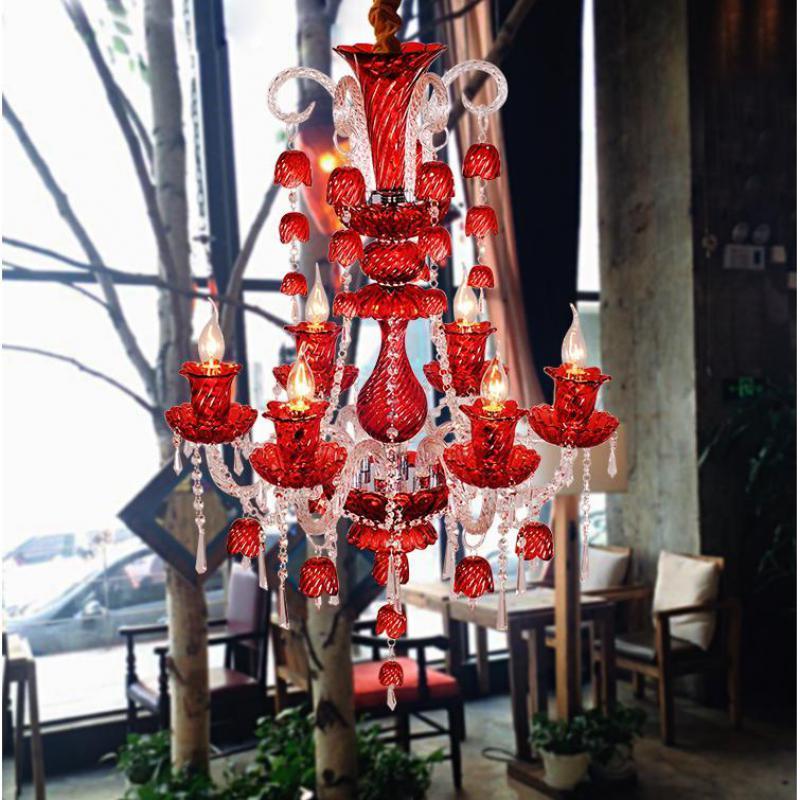 Bar Novelty Wind chimes crystal Lighting Chandelier for Restaurant cafe light 2017 new glass bell Red blue chandelier led lustre european rural bird marble hemp rope chandelier cafe restaurant corridor balcony chandelier size 33 38cm e27 ac110 240v