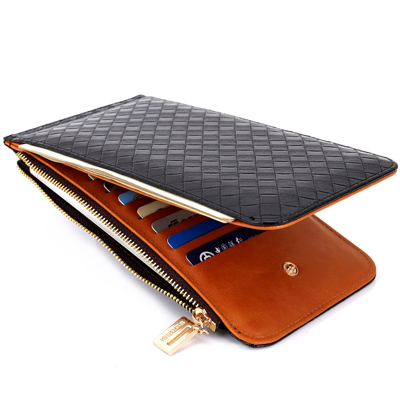 Leather Credit Card Holder Men Women Wallets Long ID Card Case Bank Purses Driver License Holder Wallet For Credit Cards baellerry double zipper women business card holder wallet oil wax leather purse female name bank credit cards driver license bag
