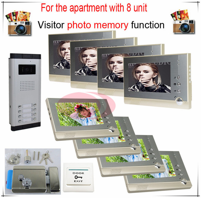 8v8 Take Photos Color Video Door Phone Intercom Doorbell System  For Eight Units Apartment  + Electronic control lock