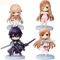 4pcs/lot Anime Sword Art Online Kirito & Asuna Figure Cute 7cm SAO Kirito Asuna Niitengo ver Q Version PVC Action Figures Toys