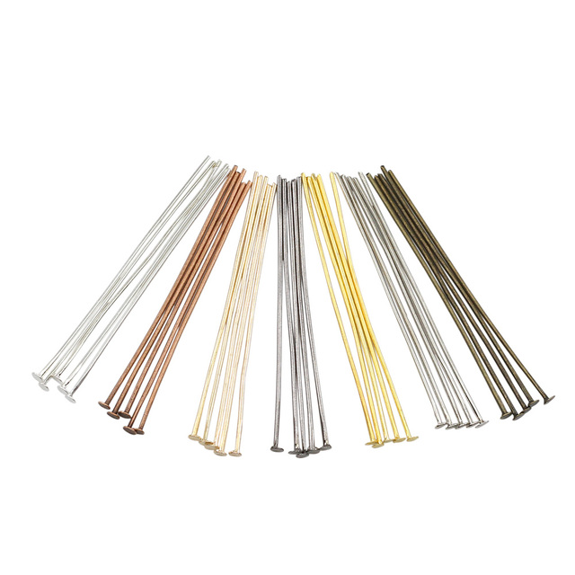 200pcs/bag 20 25 30 40 50 60 70 mm Flat Head Pins Gold/Silver/Bronze Head pins For Making Jewelry Findings DIY Accessories