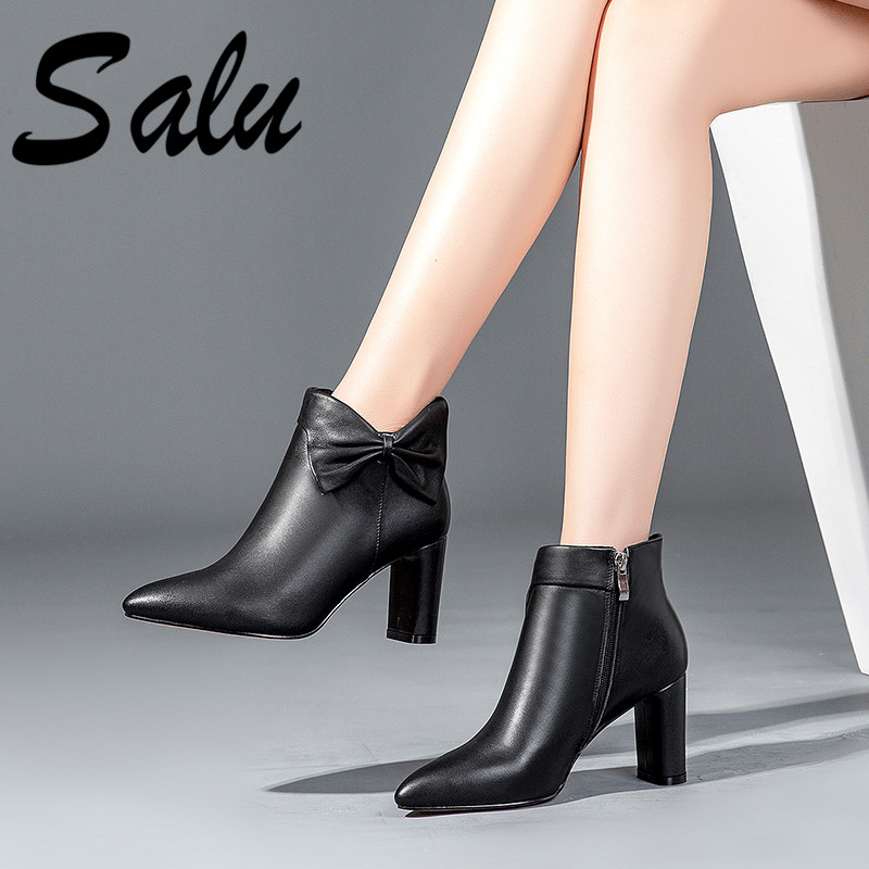 Salu Fashion Women Ankle Boots Genuine Leather Autumn Winter Warm Square Heels Shoes Pointed Toe Elegant Office Lady Shoes WomanSalu Fashion Women Ankle Boots Genuine Leather Autumn Winter Warm Square Heels Shoes Pointed Toe Elegant Office Lady Shoes Woman