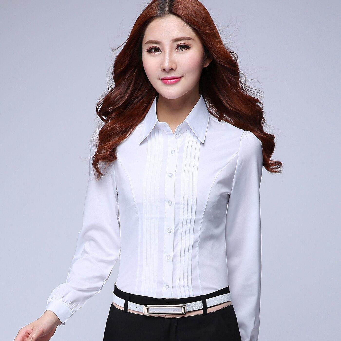c77af3511 2015 الصيف الإناث طويلة الأكمام قميص ضئيلة قميص العمل الرسمي وزرة ol الأبيض  الملابس الرخيصة الصين النساء