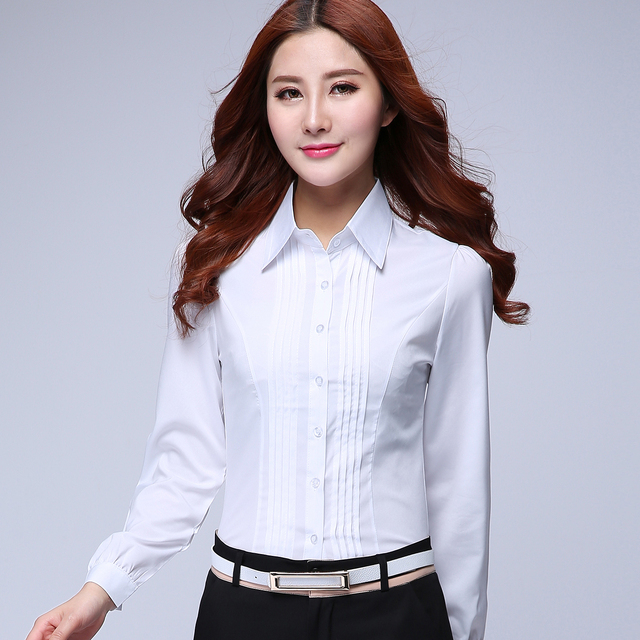 2017 Summer Female Long Sleeve Slim Formal Shirt Work Wear Overalls Ol White