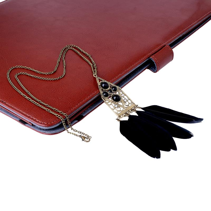 Bohemian Ethnic Indian Style Feather Pendant Necklace Vintage Retro Chain Necklace Fashion Pendant Women Jewelry sweater chain