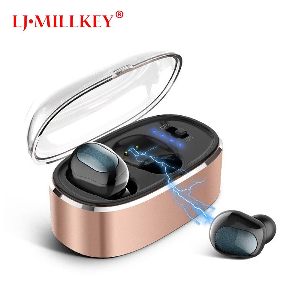 Newest Twins True Wireless Earbuds Mini Bluetooth In-Ear Stereo TWS Wireless Earphones With Charging Case LJ-MILLKEY YZ136