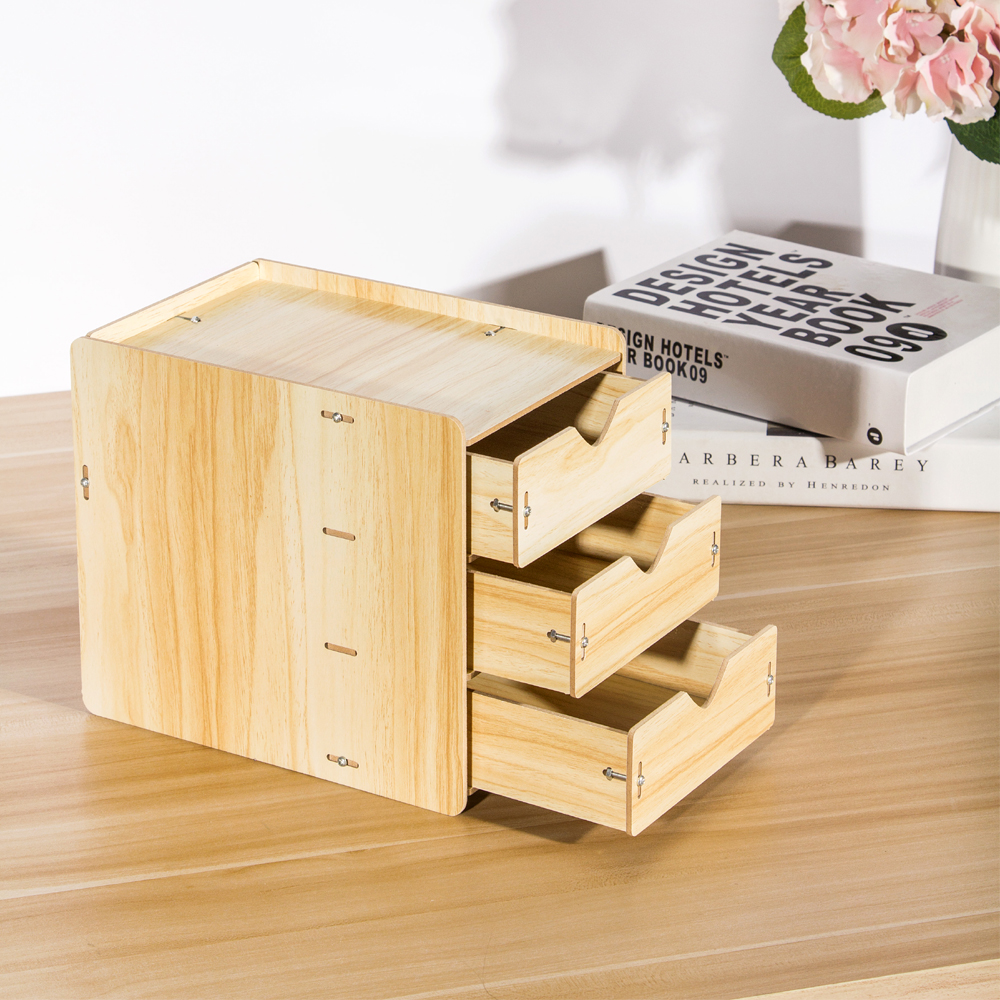 DIY Office 3 drawers Wooden Desk Tools Storage Drawer Box Table Organizer Document Stationery Holders Rack Tray Case Desk Set free shipping wooden desk storage drawer debris cosmetic storage box jewelry retro style office creative gift home supply