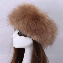 Autumn and Winter Elastic Faux Fox Fur Empty Head Caps Women Female Tide Mongolia Circle Warm Bomber Hats Hair Rings