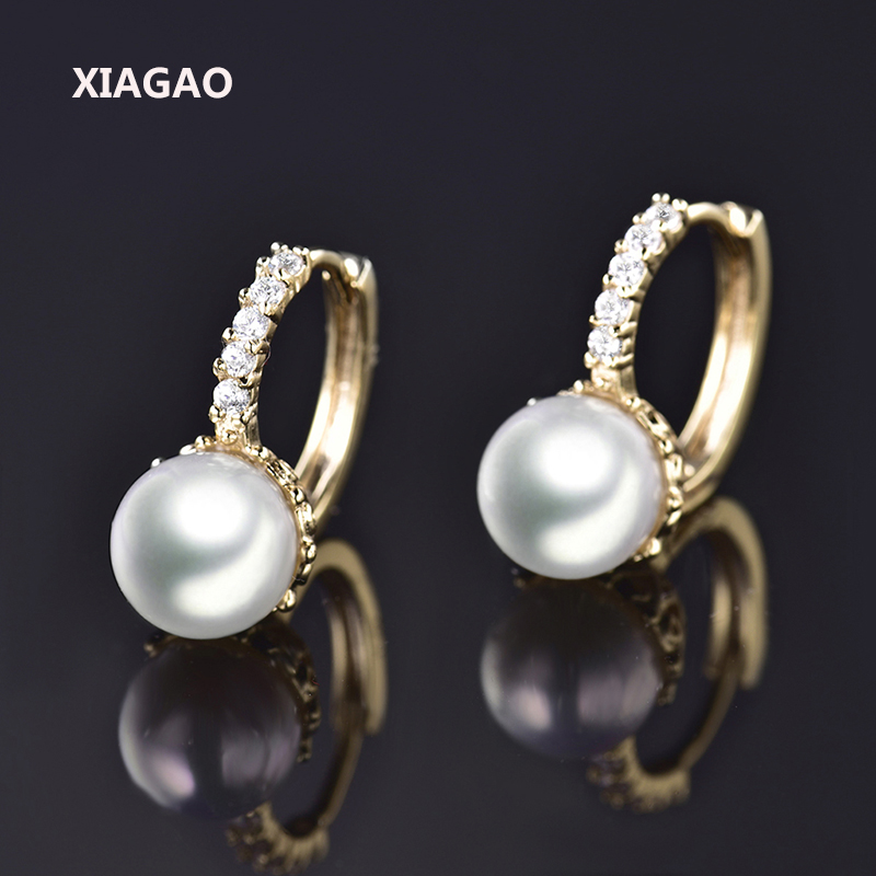 XIAGAO Wedding Hoop Earrings Rose Gold -color White Simulated Pearl And Tiny Rhinestone Earrings Jewelry For Women