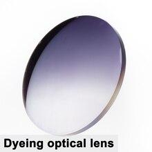 Um par de lentes tingidas lente de miopia asférica CR 39 prescrição presbiopia lente uc revestimento anti radiação 1.56 índice
