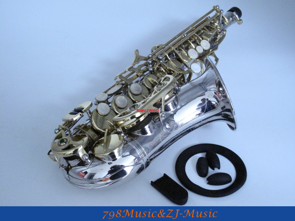 Niquelado curvado soprano saxofone bb chave para