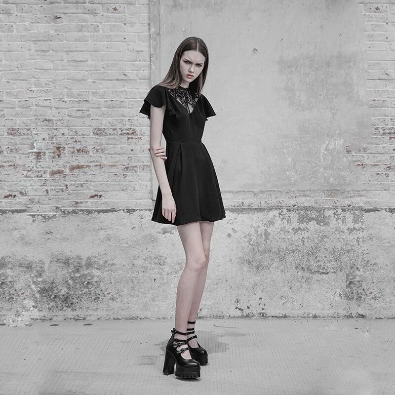 펑크 레이브 고딕 여성 패션 레이스 스티치 v 칼라 연꽃 잎 우아한 블랙 슬림 버전 주름 방지 쉬폰 드레스-에서드레스부터 여성 의류 의  그룹 3