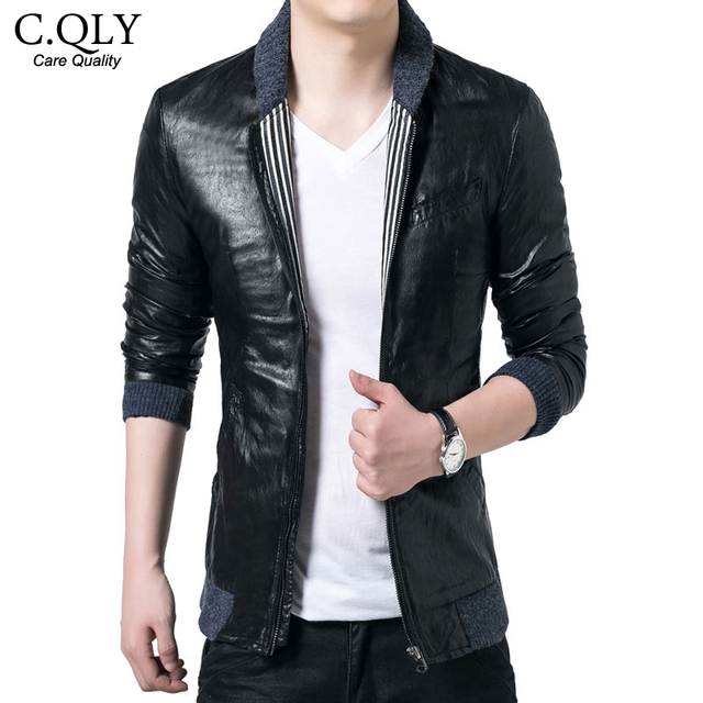 Top Quality Mens Leather Jacket 2015 New Fashion Slim Faux Leather Stand Collar Motorcycle Jackets And Coats Plus size M-5XL