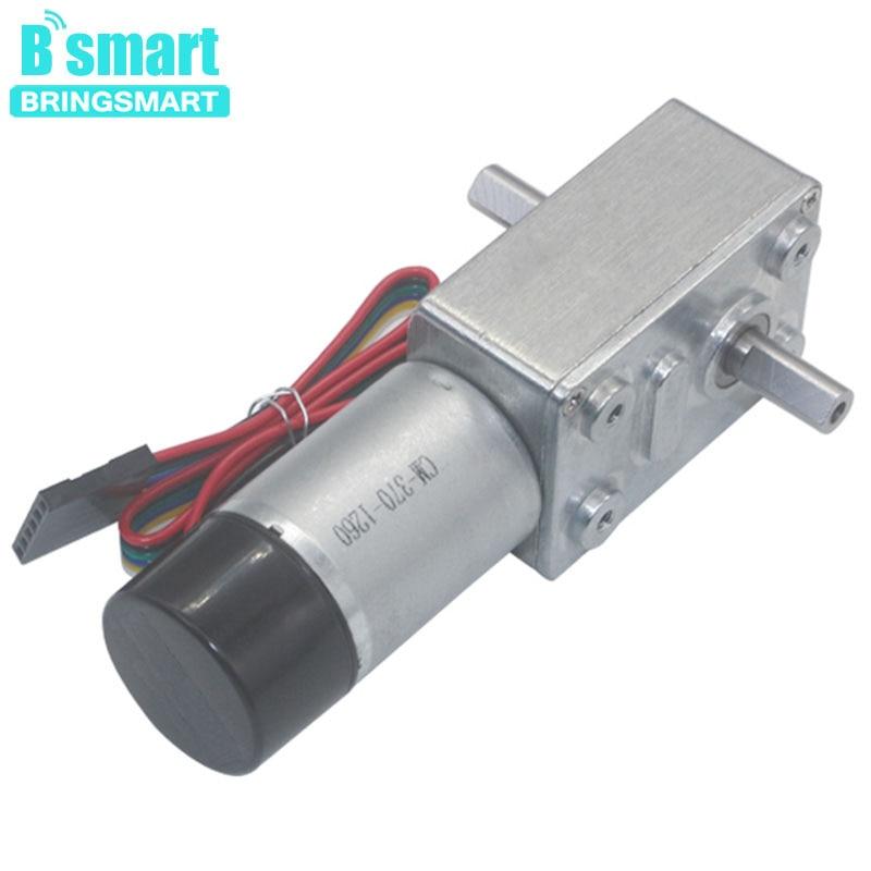 купить Bringsmart JGY-370S Motor Encoder Worm DC Geared Reducer 6~12V Low Speed Hall Encoder Reversible Electric Motor 6~150rpm CW/CCW по цене 1253.23 рублей