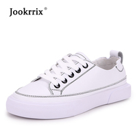 Jookrrix 2019 NEW Women Leather Sneakers for Woman White Shoes for Women Casual Shoes Beige Trainers Shoes Lady Footwear