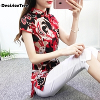 2019 new cheongsam cotton linen vintage oblique lapel buttons qipao shirt women short sleeves blouse chinese traditional top