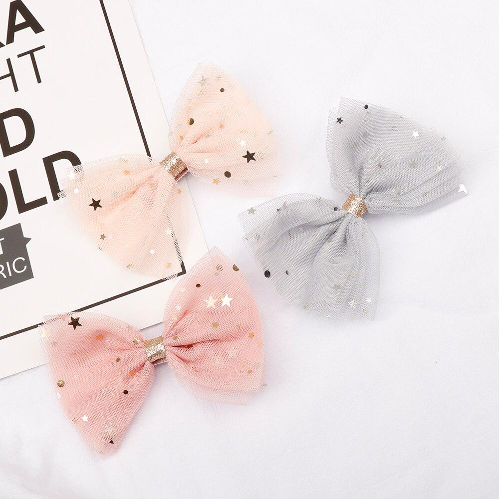 Fashion Korean Lace Hair Clips For Girls Bling Sequin Star Hairbows Handmade Hair Bows Kids Headwear Hairclip Hair Accessories