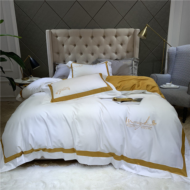 New 60S egyptian Cotton Bedlinen Luxury bedclothes Bedcover Silk ribbon Duvet Cover Bedding Set queen king size bed set