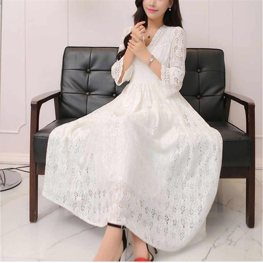 2019 модное весеннее женское платье с длинным рукавом кружевные платья летнее богемное платье с v-образным вырезом Белое черное Открытое платье Vestidos WZ688