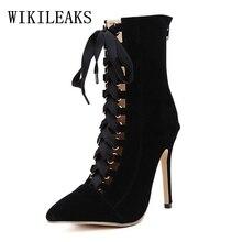 Ankle boots para mulheres sapatos de salto alto botas sapatos de luxo mulheres projetistas sapatas góticos mulher botines mujer bota feminina 2018