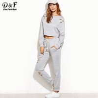 Dotfashion Heather Grey Ripped Crop Top With Drawstring Waist Pants 2017 Grey Round Neck Long Sleeve Pockets Two Piece Set