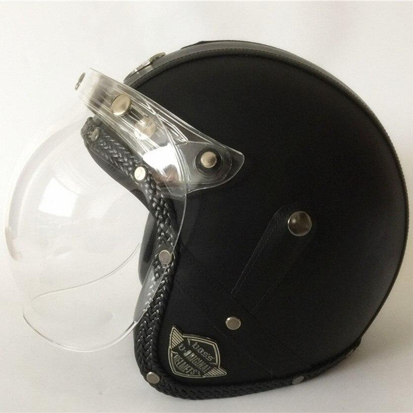 Bulle miroir VOSS PU cuir Harley 3/4 Chopper vélo face ouverte vintage moto casque Antique moto S M L XL XXL