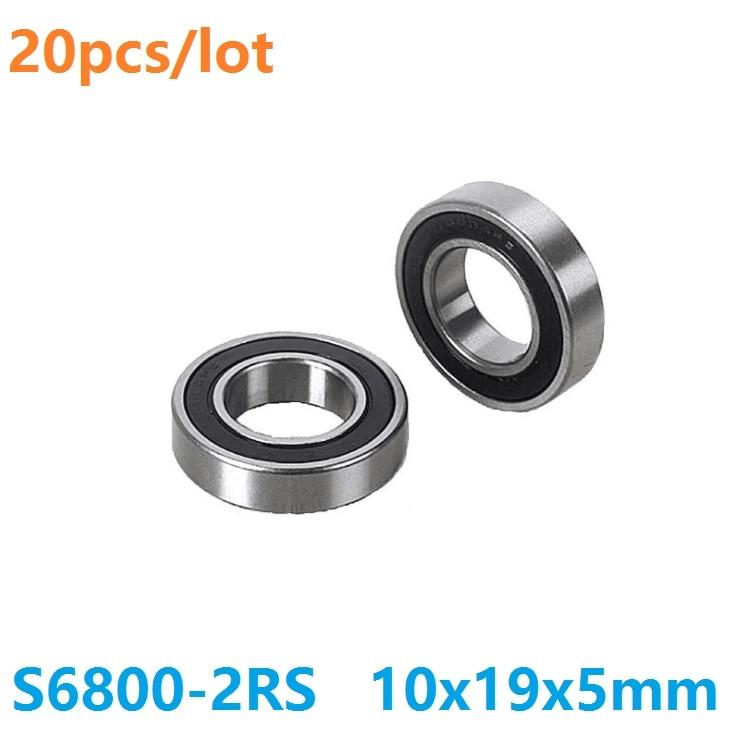 Miniature Ball Bearings Black Rubber Sealed Bearing 6800-2RS 10x19x5 20 PCS