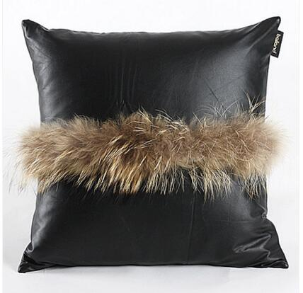luxury fur pu cushion cover decorative pu leather throw pillow case square black lumbar pillow cover home decor