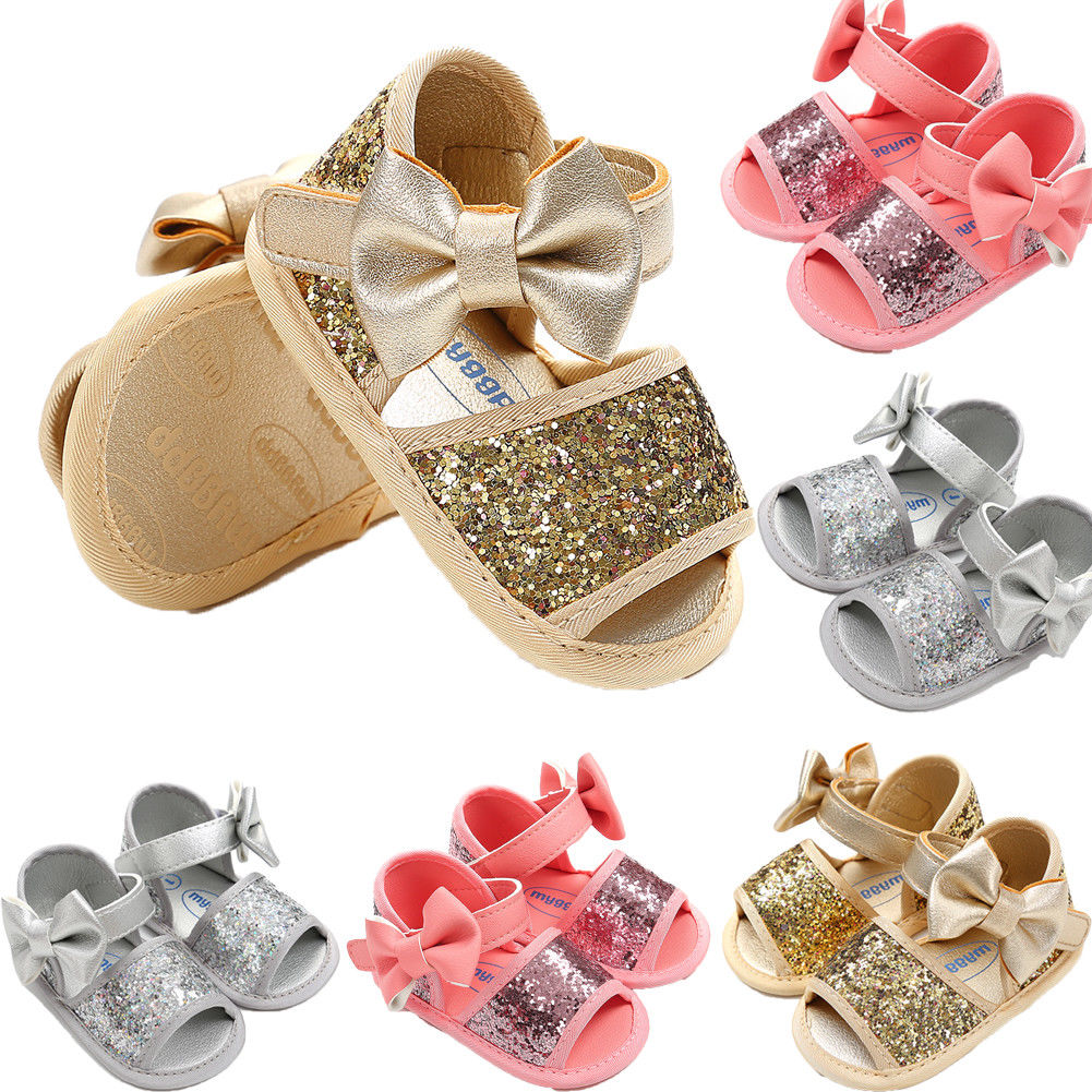 0-18M Princess Baby Girls Sandals Shoes Fashion Sequin Toddler Infant Kids Girls Soft Sole Crib Bow Summer Sandals Clogs Shoes