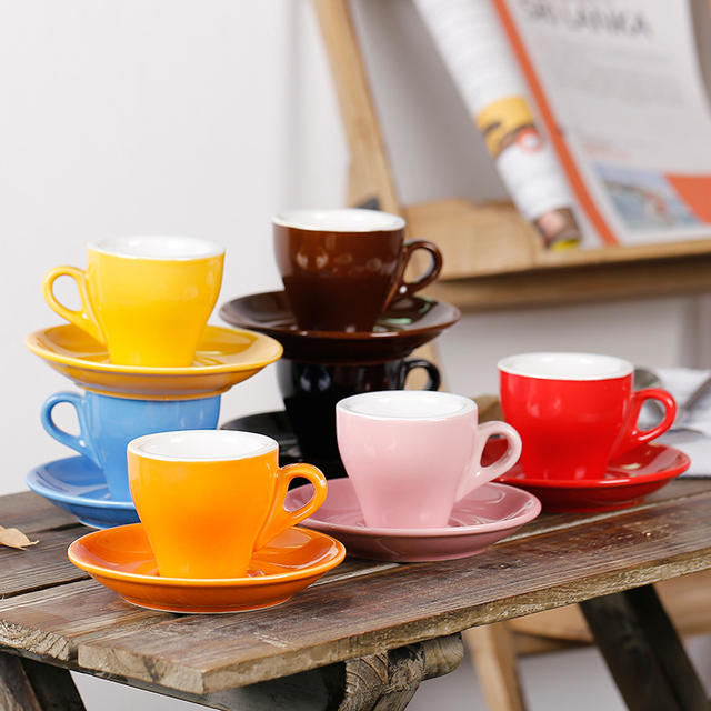 65ml Colorful Customized Logo Thick Body Tulip Ceramic Espresso Cup And Saucer Coffee