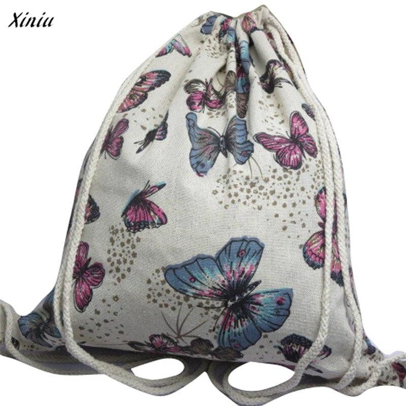 100% Wahr 2018 Weibliche Vintage Rucksack Retro Femanine Kordelzug Sack Tasche Für Frauen Rucksäcke Druck Taschen Mädchen