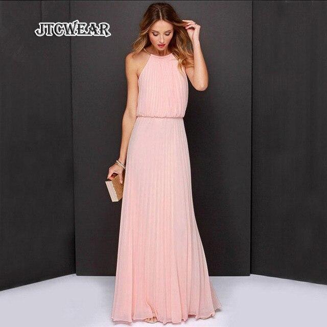 JTCWEAR Pleated Open Shoulder Sleeveless Woman Night Gown Long Dress ...