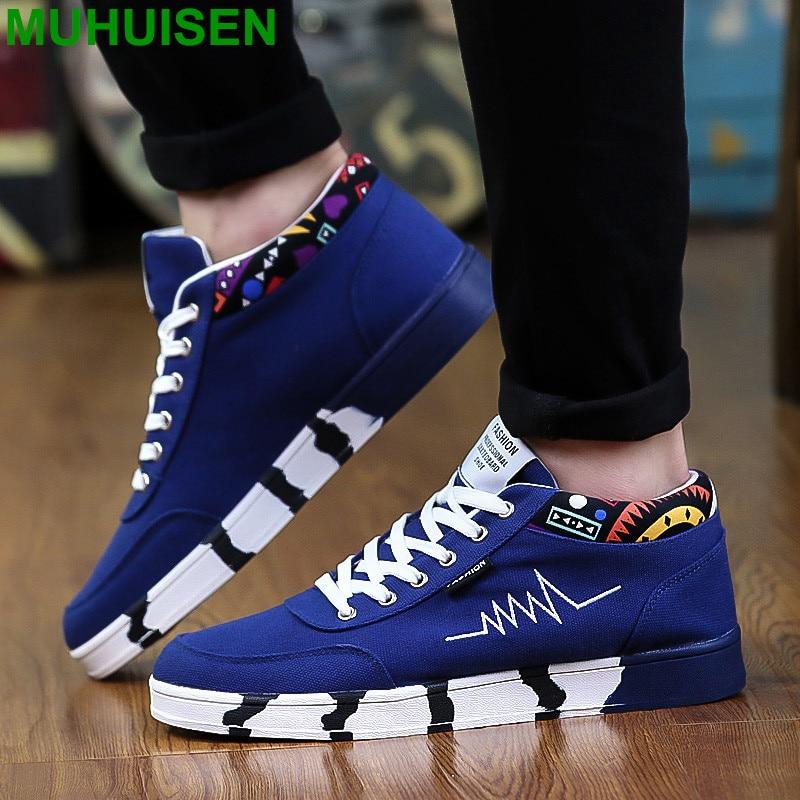 Muhuisen Men Casual Shoes Comfortable Men Flat Shoes with Fashion Summer Lace-up Male Shoes Men`s Casual Shoes