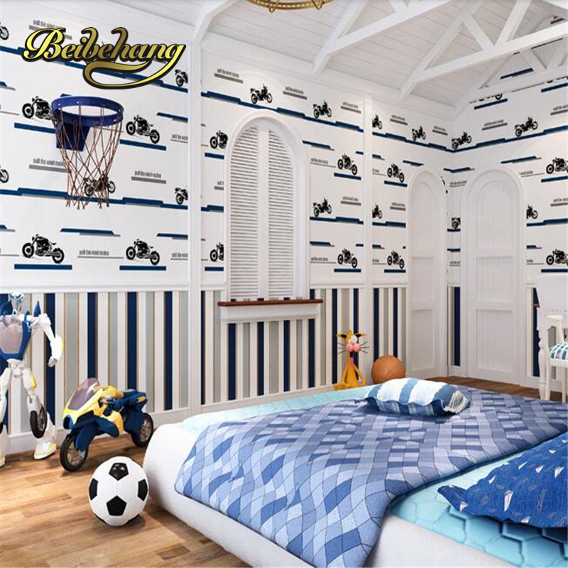 beibehang Children cute wallpaper cartoon motorcycle stripes boy children room wall paper non - woven bedroom papel de parede beibehang new children room wallpaper cartoon non woven striped wallpaper basketball football boy bedroom background wall paper
