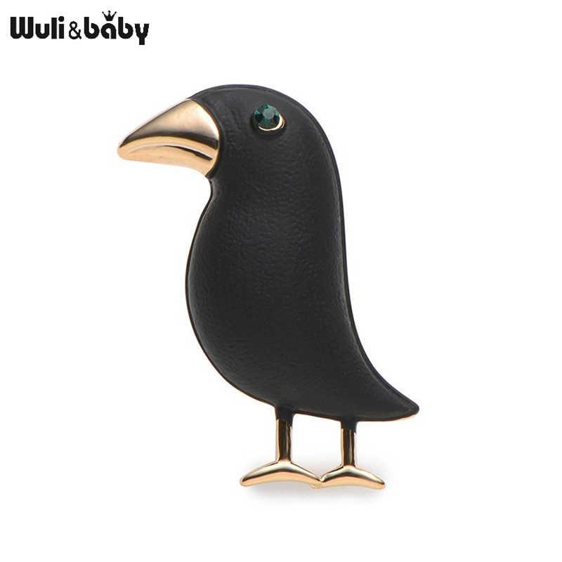 Crow Brooch Black Paint Bird Enamel Brooches Men Women Suits Dress Hat Collar Brooch Pins Animal Scarf Buckle Gift