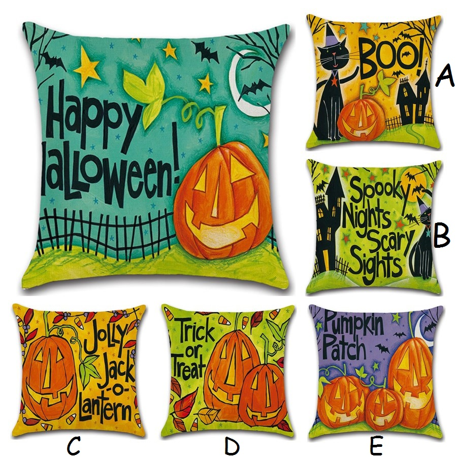 45*45cm Holloween Pumpkin Pillowcase Little Witches Cotton Linen Cushion Covers Printed Throw Pillows Covers Decorative Cojines