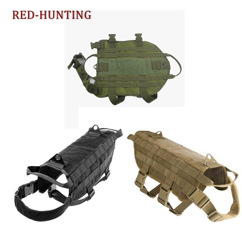 Nueva Durable caza táctico K9 perro chaleco MOLLE arnés combate Chaleco de perro Chaleco táctico de gran raza para perros, equipo táctico para fanáticos del ejército, ropa para perros, correas de pecho K9