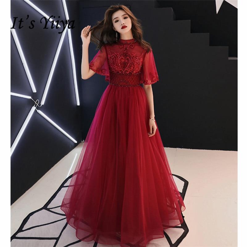 C'est YiiYa robes de soirée longue 2019 col debout fleur dentelle Tulle femmes Robe de soirée Illusion Robe de soirée grande taille E522