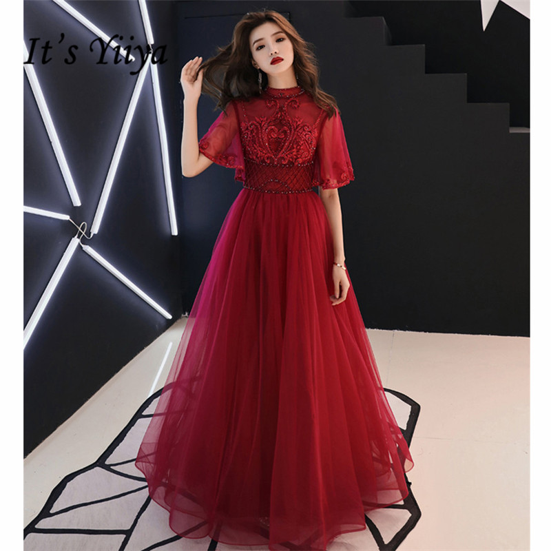 It's YiiYa   Evening     Dresses   Long 2019 Standing Collar Flower Lace Tulle Women Party   Dress   Illusion Robe de Soiree Plus Size E522