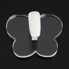 1Pcs Nail Tips Holder Art Color Showing Display Stand Transparent Butterfly-shaped UV Gel Polish Practice Training Manicure Tool