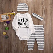 "4PCS Set Newborn Infant Baby Girls Boys ""Hello World "" Long Sleeve Striped Romper + Pants + Hat + Headband Clothes Outfits Set"