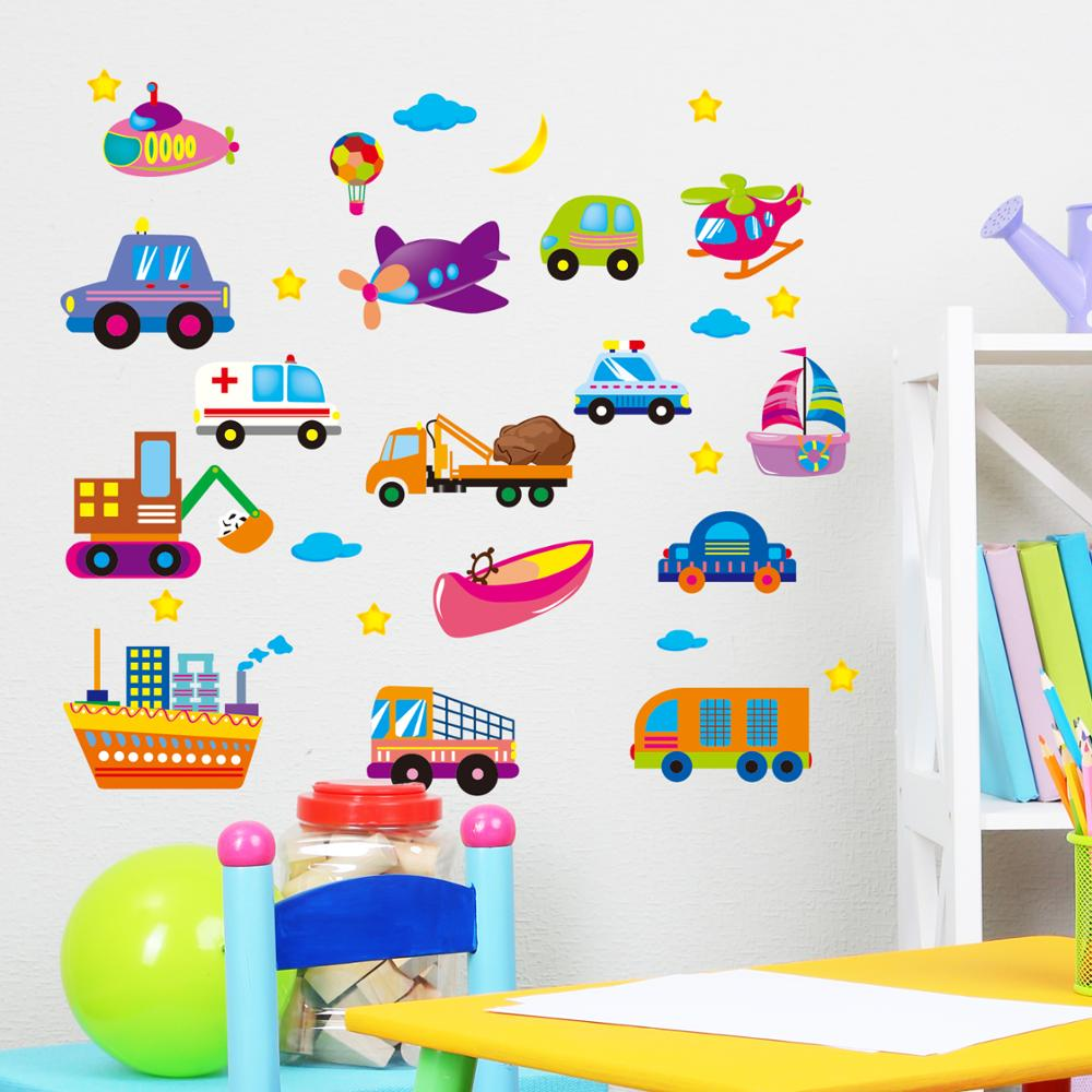 Cartoon spaceship train transport trolley baby room wall stickers ...