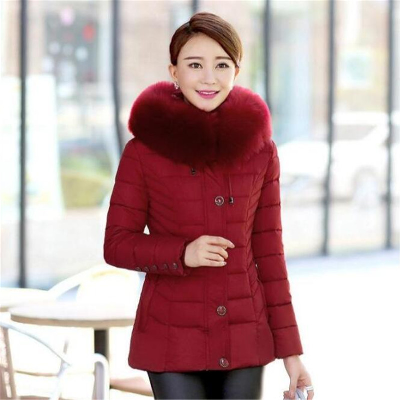 New Fashion Causal Winter Womens Parka Outwear Hooded Fur Collar Winter Coat Office Ladies Mid-Age Woman Clothes A3900 цена 2017
