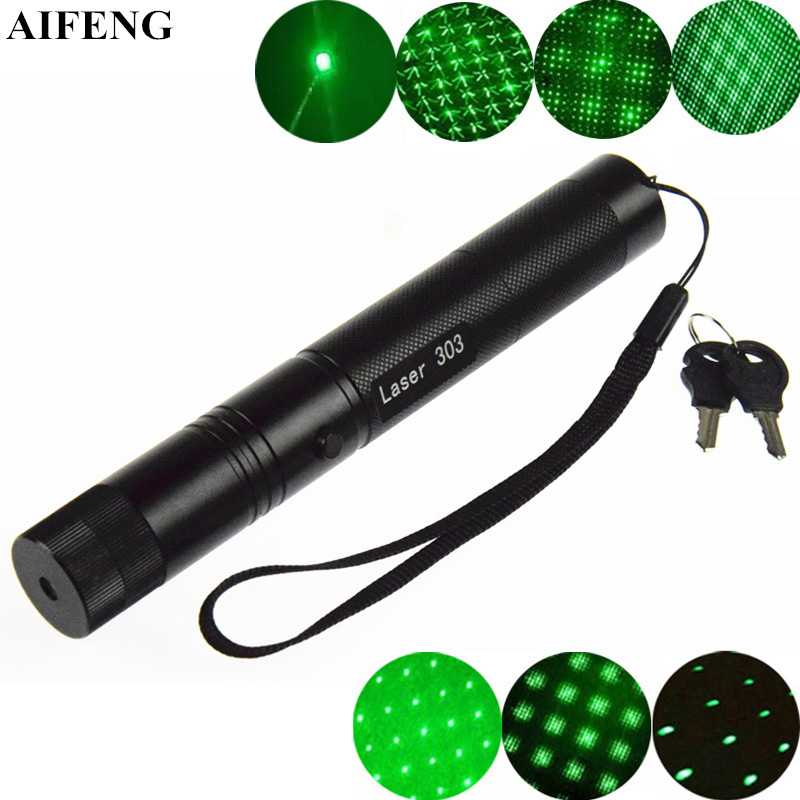 AIFENG 303 Laser Pointer 532nm Green Starry Pattern 18650 Battery Operate Powerful Green Laser Flashlight Safe Key Laser Pointer marsing 303 5mw 532nm starry sky green laser pointer flashlight golden 1 x 18650