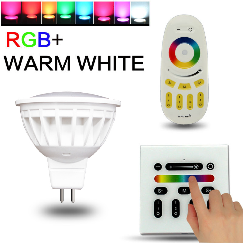 Milight MR16 spot light DC12V Wireless  Dimmable Led Bulb  RGB+CCT Led Spotlight Smart Led Lamp LED Remote and panel controler dc12v 2 4g wireless milight dimmable led bulb 4w mr16 rgb cct led spotlight smart led lamp home decoration